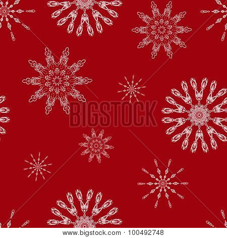 Christmas seamless background with snowflakes. Illustration can be copied without any seams. Vector