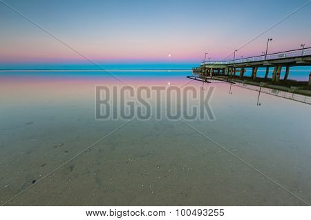 Beautiful Wooden Pier On Baltic Sea Shore