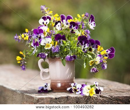 Summer bouquet of flowers pansies