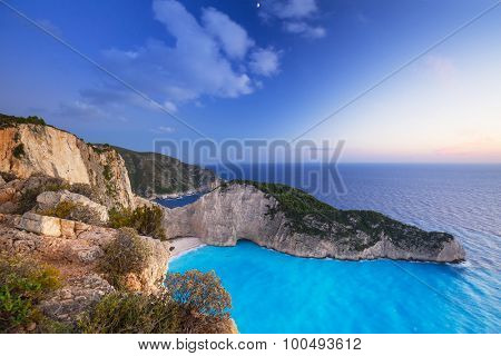 Navagio Beach (Shipwreck beach) on Zakynthos Island at sunset, Greece