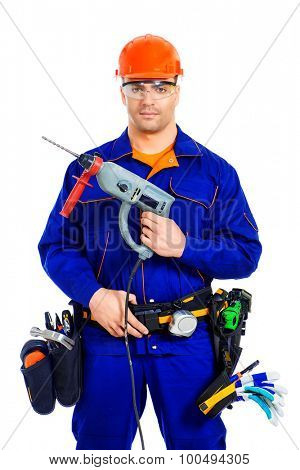 Male construction worker with a drill. Job, occupation. Isolated over white.