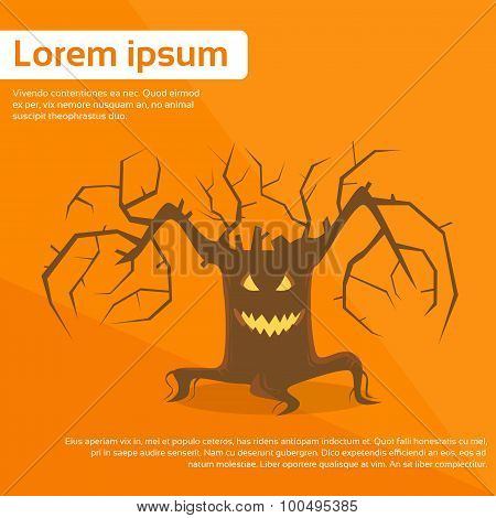 Halloween Scary Tree Smile Face Eyes Flat Vector