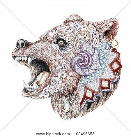Dotwork, Tattoo, Head Enraged Bear