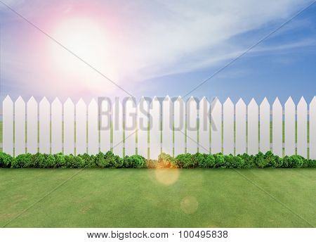 White fences on green grass and sunshine