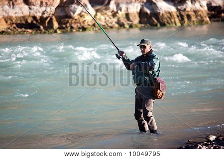 Fishing On Mountain River