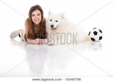 Young Woman And Dog Posing, With Football
