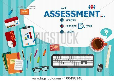 Assessment And Flat Design Illustration Concepts For Business Analysis, Planning