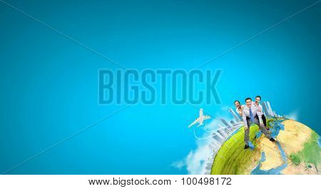 Businesspeople riding on back of their colleague. Elements of this image are furnished by NASA