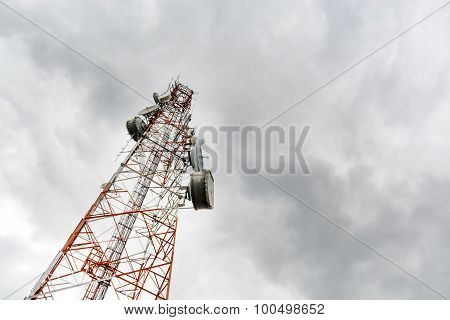 Antenna Tower Of Communication With Sky