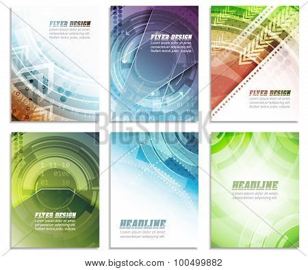 Set of abstract business flyer template, folder, brochure, cover design or corporate banner