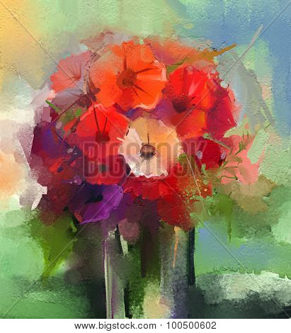 Abstract Oil Paintings A Bouquet Of Gerbera Flowers In Vase
