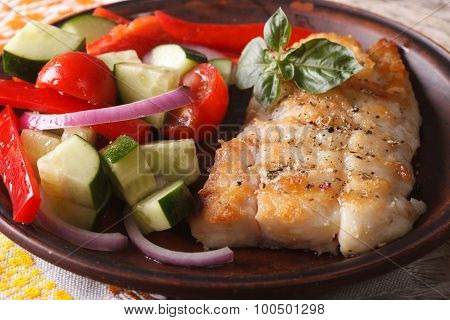 Grilling Fish Fillets And Fresh Vegetable Salad Close-up