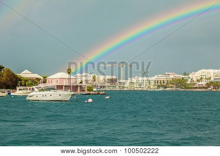 Rainbow over Hamilton, Bermuda.