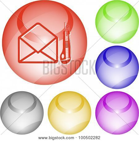 open mail with knife. Vector interface element.