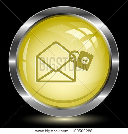 open mail with lock. Internet button. Vector illustration.