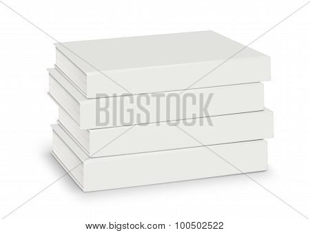 Heap Blanks Of Empty White Books Isolated With Path