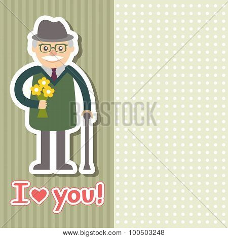 Vector Illustration. Grandfather With Flowers
