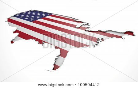 Recessed Country Map Usa