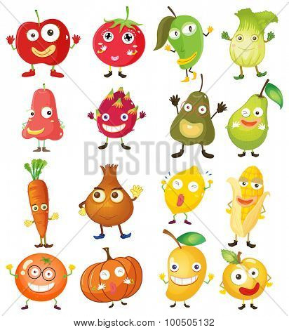 Fruit and vegetables with face illustration