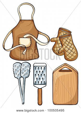 Kitchenware with apron and mittens illustration