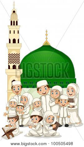 Muslim family in front of mosque illustration