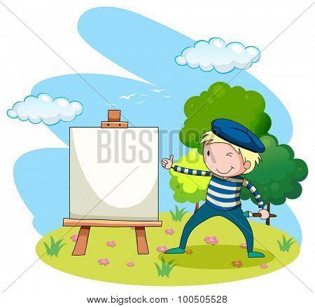 Artist painting on canvas in the garden illustration
