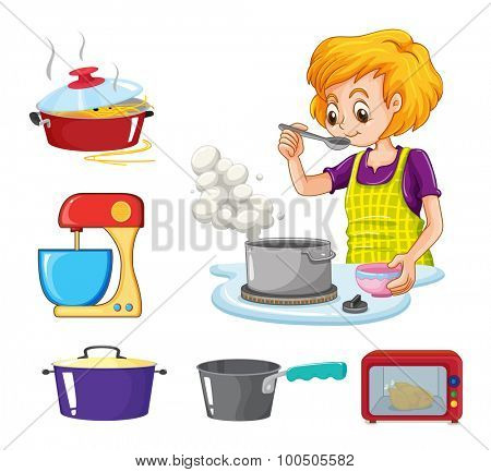 Woman cooking and other equipment illustration