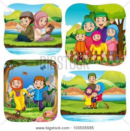 Muslim doing activities in the park illustration