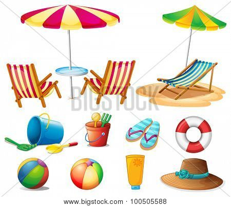 Beach objects and toys illustration