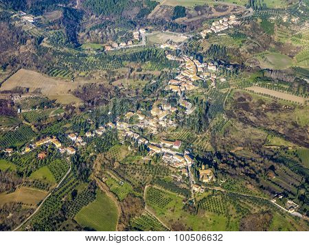 Aerial Of A Small Typical Village In The Arezzo Region
