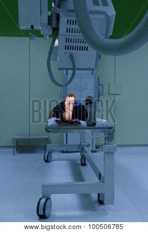 X-ray Picture Of A Womans Foot (sole) Being Taken