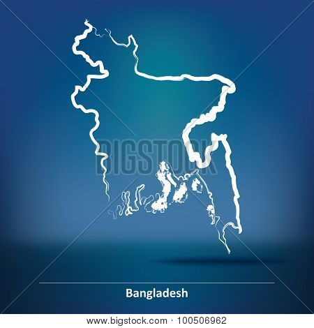 Doodle Map of Bangladesh - vector illustration