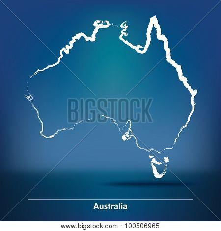 Doodle Map of Australia - vector illustration