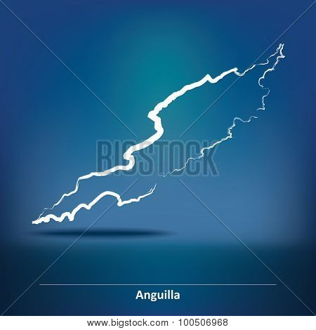 Doodle Map of Anguilla - vector illustration