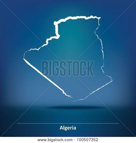 Doodle Map of Algeria - vector illustration