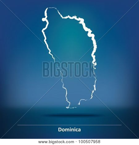 Doodle Map of Dominica - vector illustration