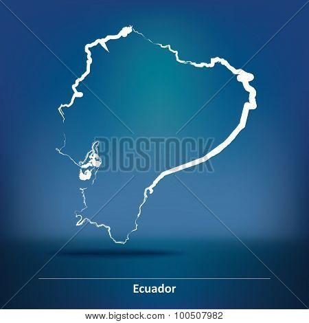 Doodle Map of Ecuador - vector illustration