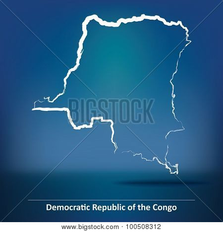 Doodle Map of Democratic Republic of the Congo - vector illustration