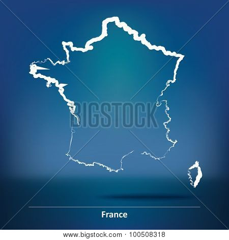 Doodle Map of France - vector illustration