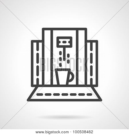 Abstract coffee machine line vector icon