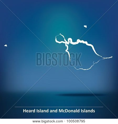 Doodle Map of Heard Island and McDonald Islands - vector illustration