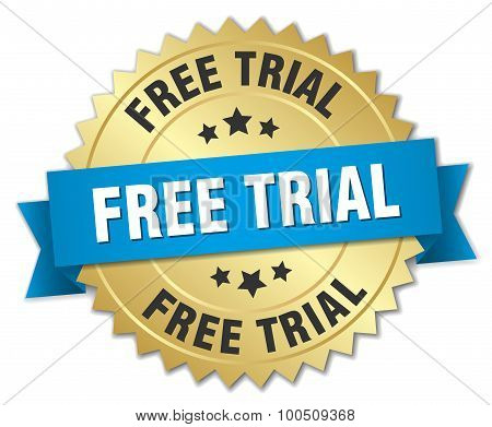 Free Trial 3D Gold Badge With Blue Ribbon