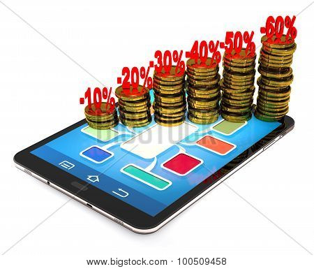 Tablet Pc, Numbers, Percentages, Gold Coins As A Concept Of Financial Success.