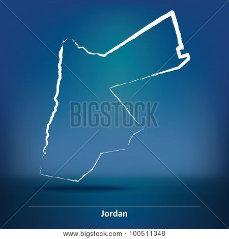 Doodle Map of Jordan - vector illustration