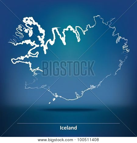 Doodle Map of Iceland - vector illustration