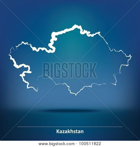 Doodle Map of Kazakhstan - vector illustration