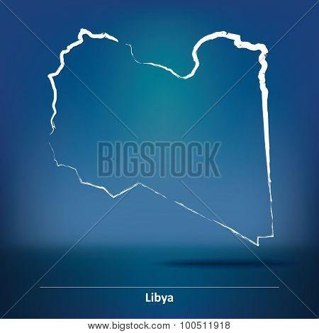 Doodle Map of Libya - vector illustration