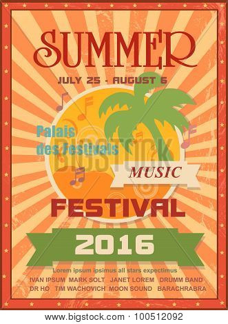 Summer music festival printable poster template or web banner with palms, sun, notes. For seasonal e