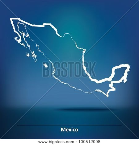 Doodle Map of Mexico - vector illustration