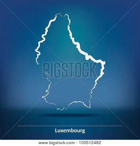 Doodle Map of Luxembourg - vector illustration